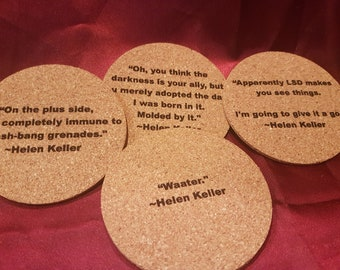 Inspirational Quotes Cork Coasters Famous Gift For Herhim Etsy