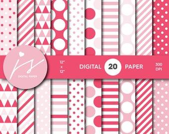 Pink scrapbooking, Pink paper, Pink digital paper, Pink backgrounds, Pink pattern, Pink polka dots, MI-686