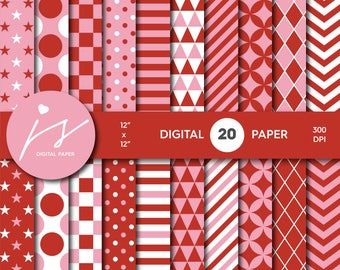 Red and pink digital paper, Scrapbooking paper, Digital paper pack, Digital backgrounds, Printable paper, Commercial use, MI-628
