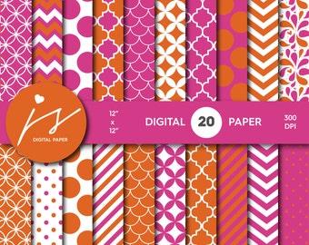 Pink and Orange Digital Scrapbook Paper, Printable Paper, Seamless Paper Pattern Bundle Sale, Paper Pack Kit, Commercial Use, MI-488