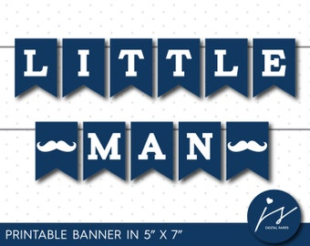 Navy blue mustache baby shower decorations, Little man bunting, Mustache birthday party banner, Little man party, PB-425