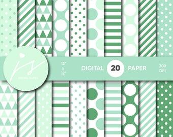 Mint green digital paper, Mint green scrapbooking, Mint green paper, Mint green backgrounds, Mint green pattern, Mint polka dots, MI-688