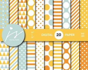 Orange digital paper, Orange scrapbooking, Orange paper, Orange backgrounds, Orange pattern, Orange polka dots, MI-693