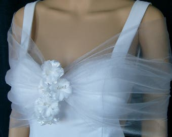 Bridal Wedding White Shimmer Tulle Wrap Cape Shrug Capelet with Flower Embellishment Evening New Year's