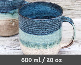 97347f403d1 Big handmade ceramic coffee mug, blue & beige – MADE TO ORDER – Artisan,  extra large coffee pottery mug. Original beer stein. Hygge mug!
