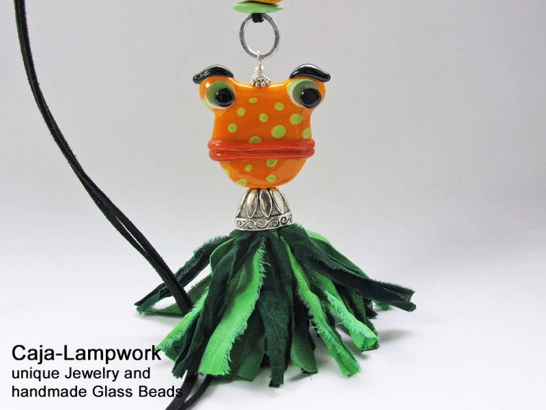 cheerful jewelry Long necklace with very large frog statement frog orange green handmade glass bead with silk tassel