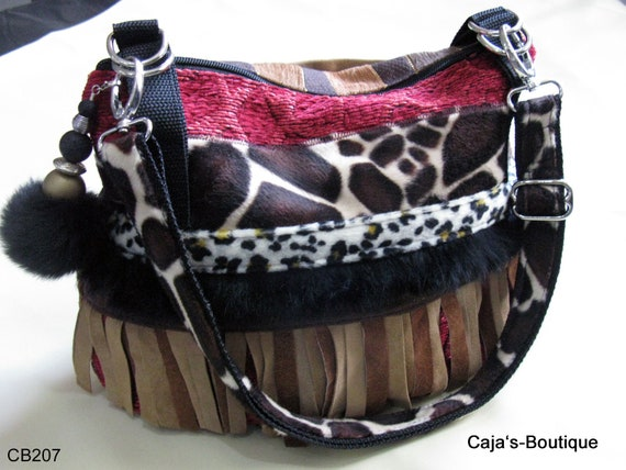 Handmade fabric bag with fur and leather appliqué leather etsy