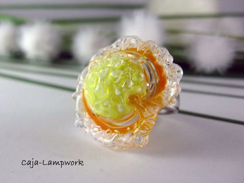 Ring top yellow-orange-white lampwork changing attachment brushed handmade changing top