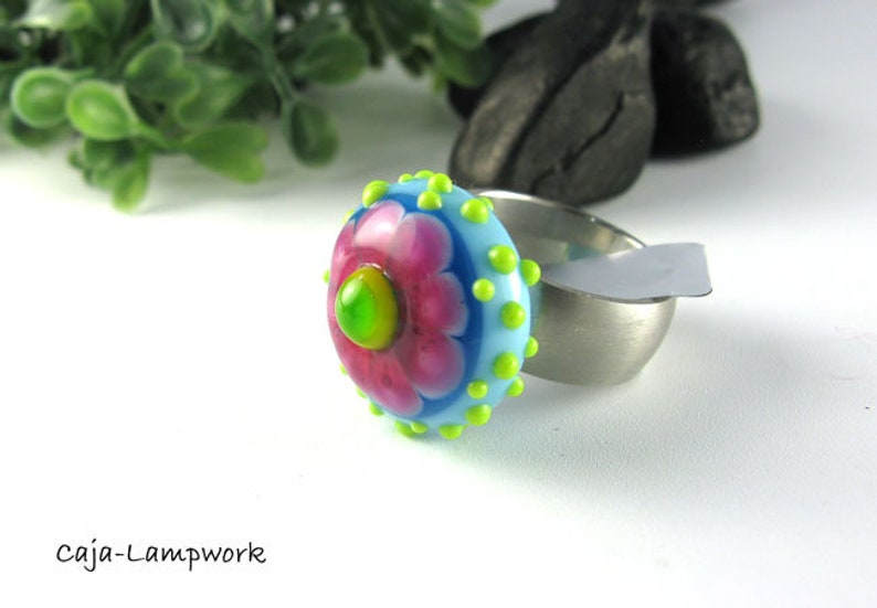 pink-turquoise lampwork changing top with big flower changing attachment Ring top