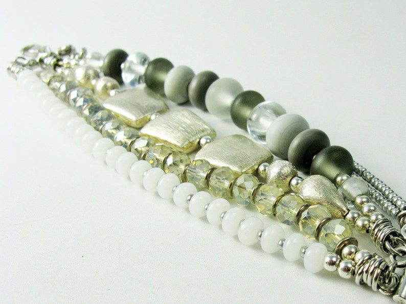 handmade glass beads Multilayer gray silver pearl bracelet cuff bracelet fits from 6,29-7,67 Inch adjustable size