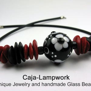 short necklace with a handmade glass bead statement necklace eye-catcher large lampwork bead black stringer painting Red black
