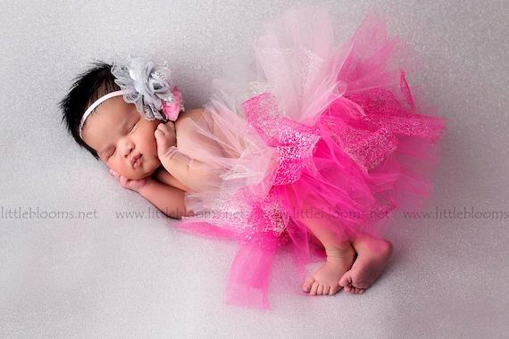 Newborn Tutu Photo Prop Design Your Own Baby Tutu Baby Tutu First Photos 6 Tutu and Headband Set