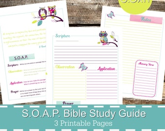 soap bible study guide printables pdf soap christian bible study bible journal devotional guide bible study planner owl theme