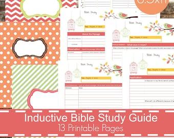 inductive bible study guide printables pdf christian bible study bible journal devotional guide bible study planner bird theme