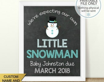 Little Snowflake Pregnancy Announcement Social Media EDITABLE Digital Baby Announcement Letter Board Idea Personalize WWithout Photo IG224