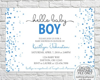 Printable Baby Shower Invitation, Watercolor Confetti, Blue Watercolor  Invitation, Baby Boy Shower Invitation, Watercolor Invite, Baby Boy