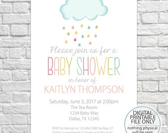 Printable Baby Shower Invitation Cloud Invite DIY Gender Neutral
