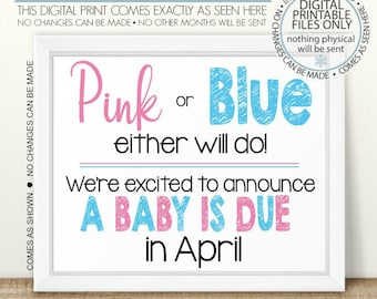 Baby Announcement July Baby Sign Printable Pregnancy Sign boy or girl Pink or Blue Either Will Do PRINTABLE Pregnancy Announcement