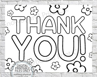 picture relating to Printable Thank You Cards to Color known as Coloring thank oneself Etsy