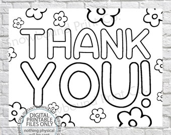 graphic regarding Printable Thank You Cards to Color identified as Coloring thank by yourself Etsy