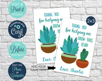 Thank You For Helping Me Grow Tag Etsy