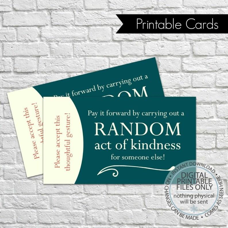 Printable Random Act Of Kindness Cards Raok Pay It Forward Etsy