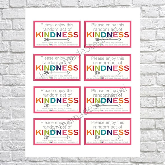 image relating to Random Acts of Kindness Cards Printable known as Printable Random Act of Kindness Playing cards, RAOK, Spend It Ahead, Do it yourself Printable, Getting in touch with Playing cards, RAOK tags, Get pleasure from this random act of kindness