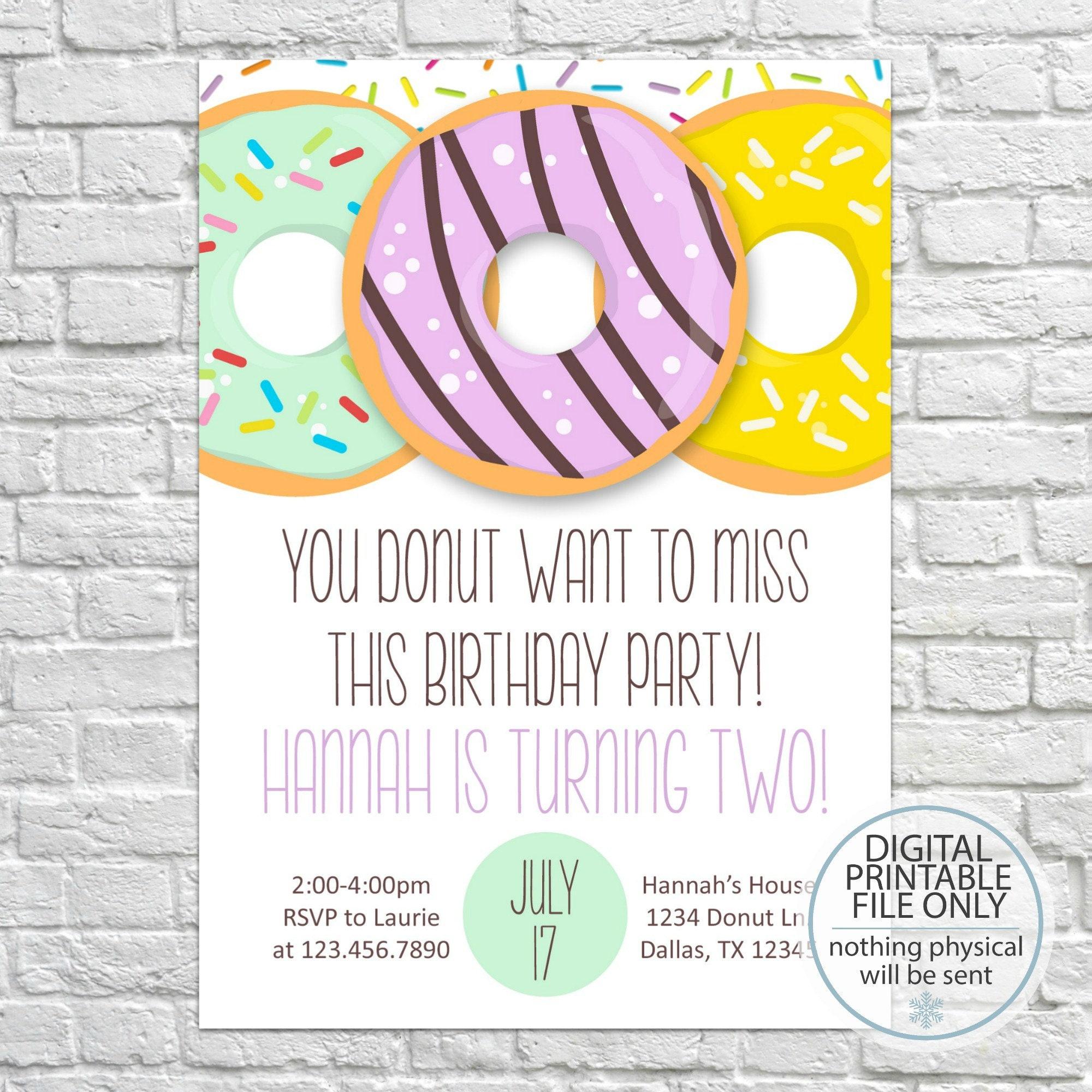 Donut Birthday Party invitation Donut Party Invite Girl | Etsy