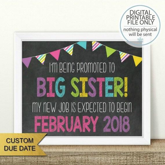 Big Sister Sign Baby Number 2 PRINTABLE Pregnancy Announcement Big Sister Announcement Second Baby 2nd Pregnancy Sibling Announcement