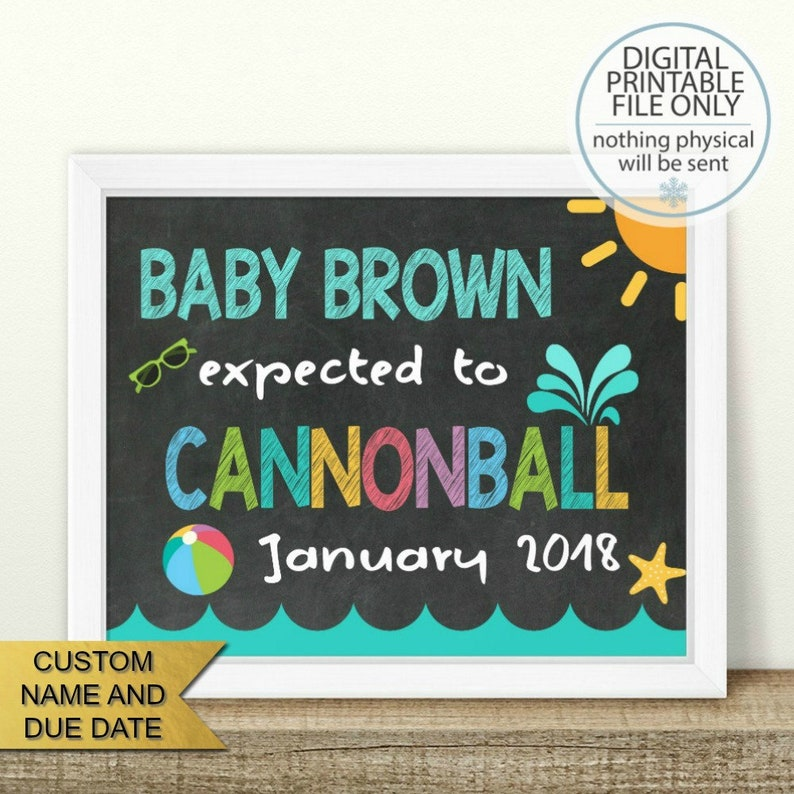Photo Prop PRINTABLE Summer Pregnancy Announcement Beach Pregnancy Reveal Cannonball Summer Pregnancy reveal Chalkboard Sign