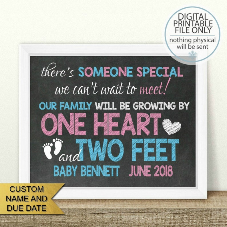 chalkboard sign first baby PRINTABLE Pregnancy Announcement pink or blue pregnancy reveal baby announcement One heart and Two feet