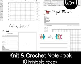 Knitting Crochet Planner Notebook Journal Printables PDF, knitting planner, knitters notebook, crochet planner - Modern Knit Theme