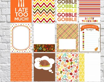 Thanksgiving diner Journaling Cards, Project Life geïnspireerd afdrukbare, digitale Scrapbooking, Pocket Scrapbooking, Planner afdrukbare