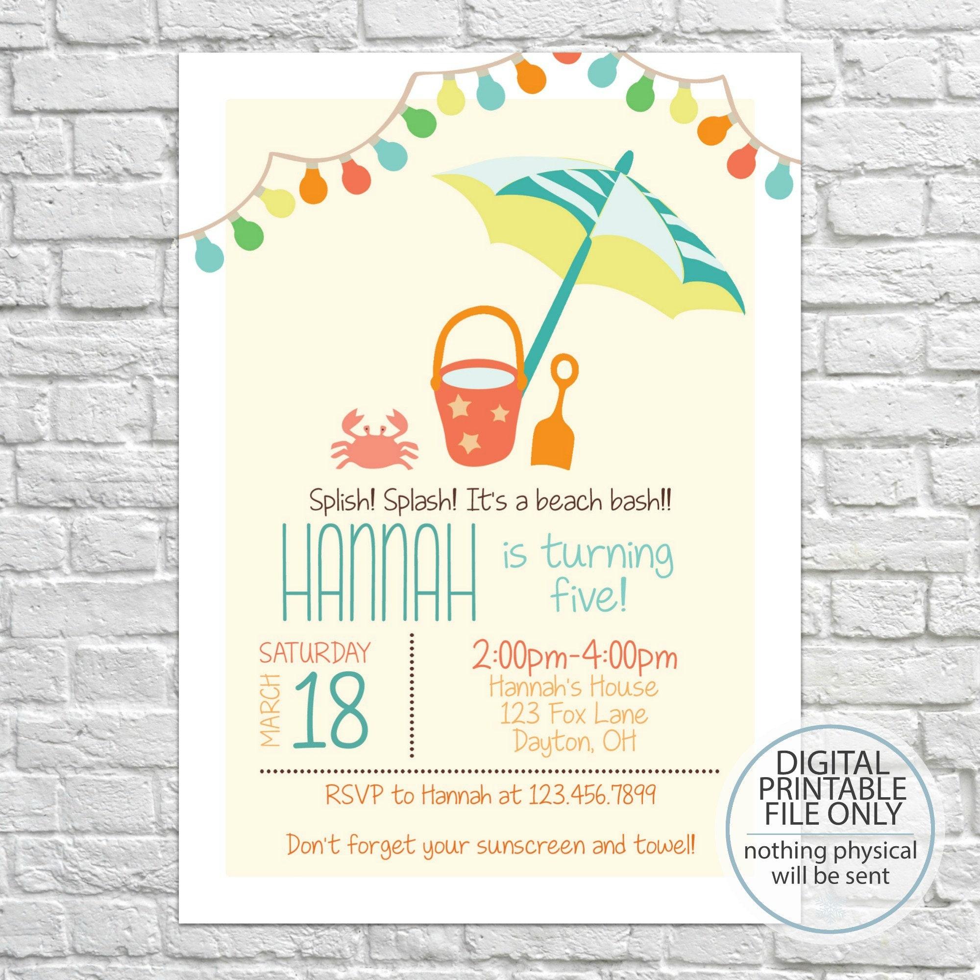 Beach Birthday Invites Beach Party Kid\'s Birthday | Etsy