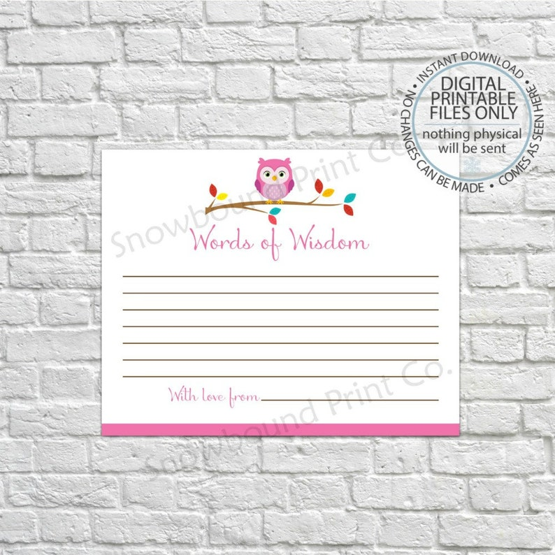 2d3cd7505ed Printable Owl Baby Shower Advice Cards for Baby or the Mom To