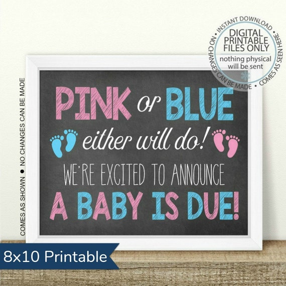 picture about Printable Baby Announcement identified as PRINTABLE Being pregnant Announcement, Crimson or Blue, Both will do, Printable Being pregnant Signal, Chalkboard Signal, Kid Announcement, boy or female