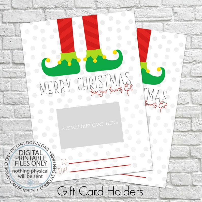 Printable Christmas Gift Card Holder Thank You Gift Card Etsy