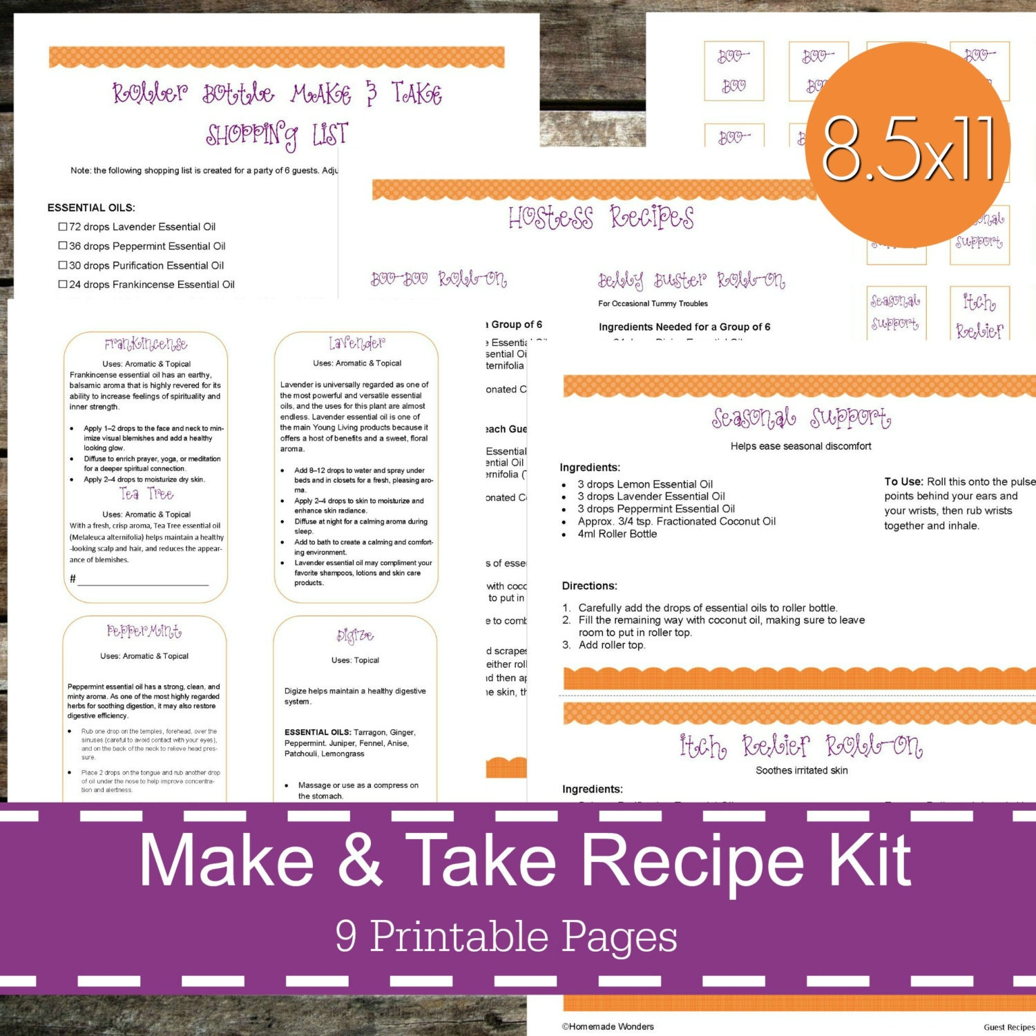 Printable Essential Oil Make & Take Recipe Kit, Essential Oil Recipes,  Essential Oil Party, Young Living Class, Young Living Oils - Roller