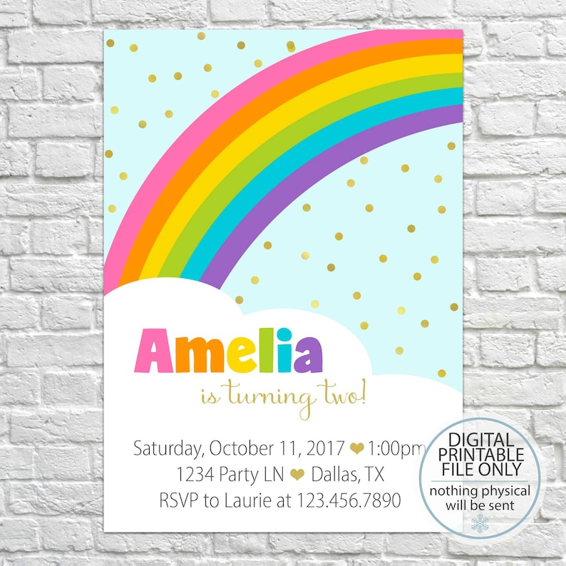 Rainbow Birthday Invitation Printable Girl Party Invite First