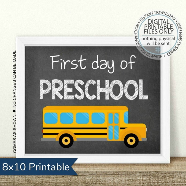Printable First Day of Preschool First Day of School image 0