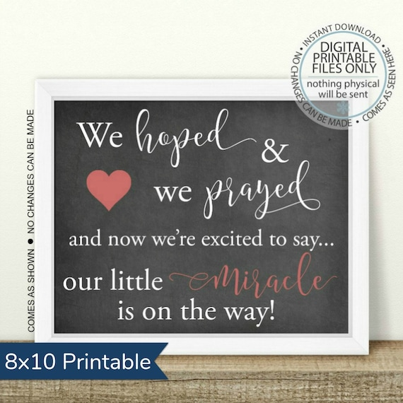 graphic about Printable Baby Announcement known as PRINTABLE Being pregnant Announcement, We hoped and we prayed, Printable Being pregnant Signal, Chalkboard Indication, Youngster Announcement, boy or lady
