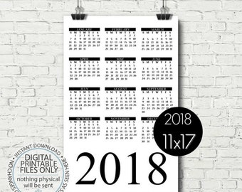 Printable Calendar 2018, Yearly Calendar Page, Minimalist Calendar, Black and White Wall Calendar, Calendar Poster, 11x17, Calendar Page