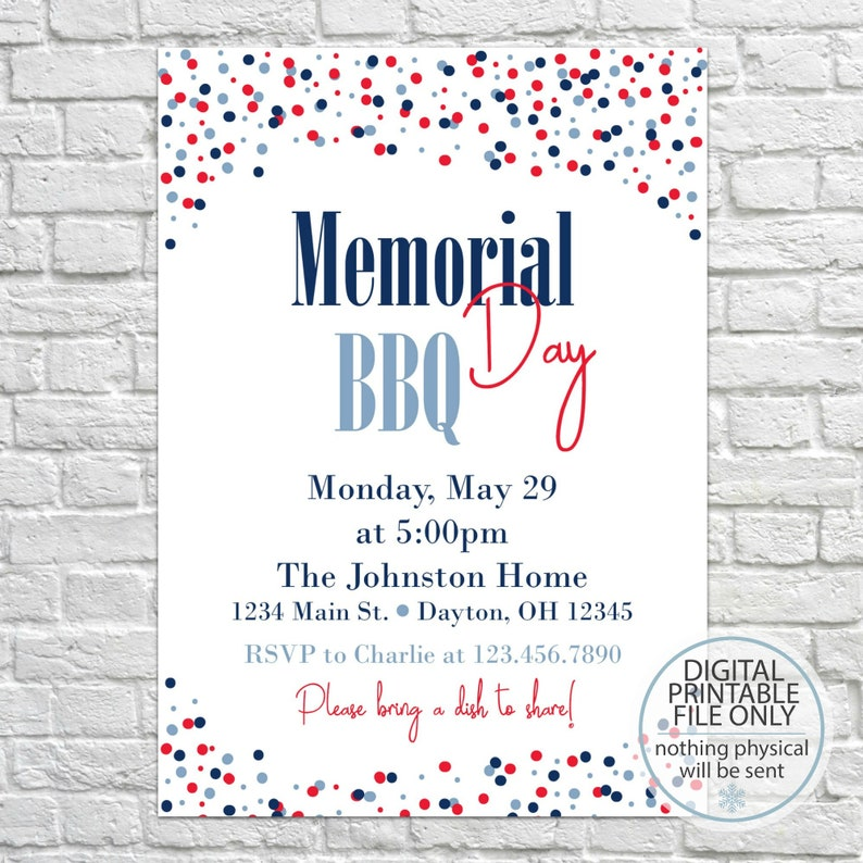 graphic regarding Memorial Day Printable named Memorial Working day, Printable Summer time BBQ Invitation, Garden BBQ Invitation, PRINTABLE Barbecue Invitation, Summertime Picnic, Backyard garden Get together