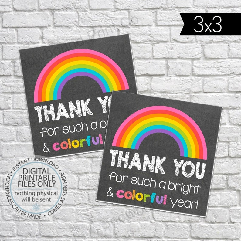 graphic about Printable Teacher Gift Tags called Printable Trainer Appreciation Present Tag, Brilliant Colourful 12 months, Instructor Reward Tag, Thank oneself Trainer Tag, Trainer Tag, Instructor Thank By yourself