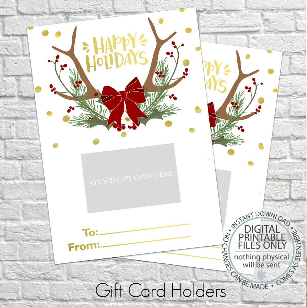 Printable Christmas Gift Card Holder Thank You Gift Card | Etsy
