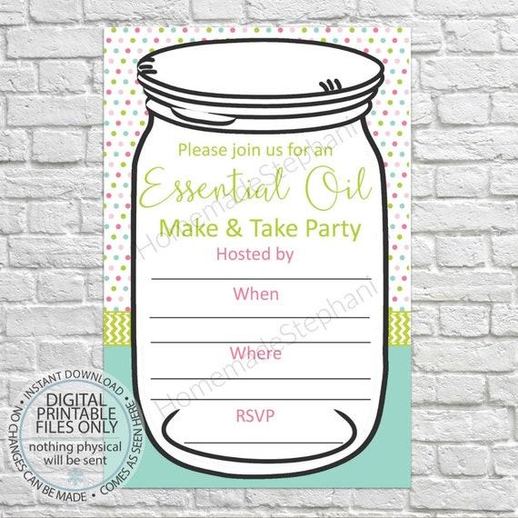 printable essential oil make take invitation party etsy