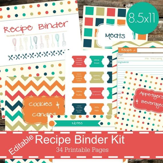 Printable Recipe Binder Kit Personalized Family Recipe