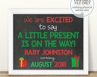 PRINTABLE Christmas Pregnancy Announcement, Little Present, We're expecting, Pregnancy Chalkboard Sign, Holiday Pregnancy, Pregnancy reveal