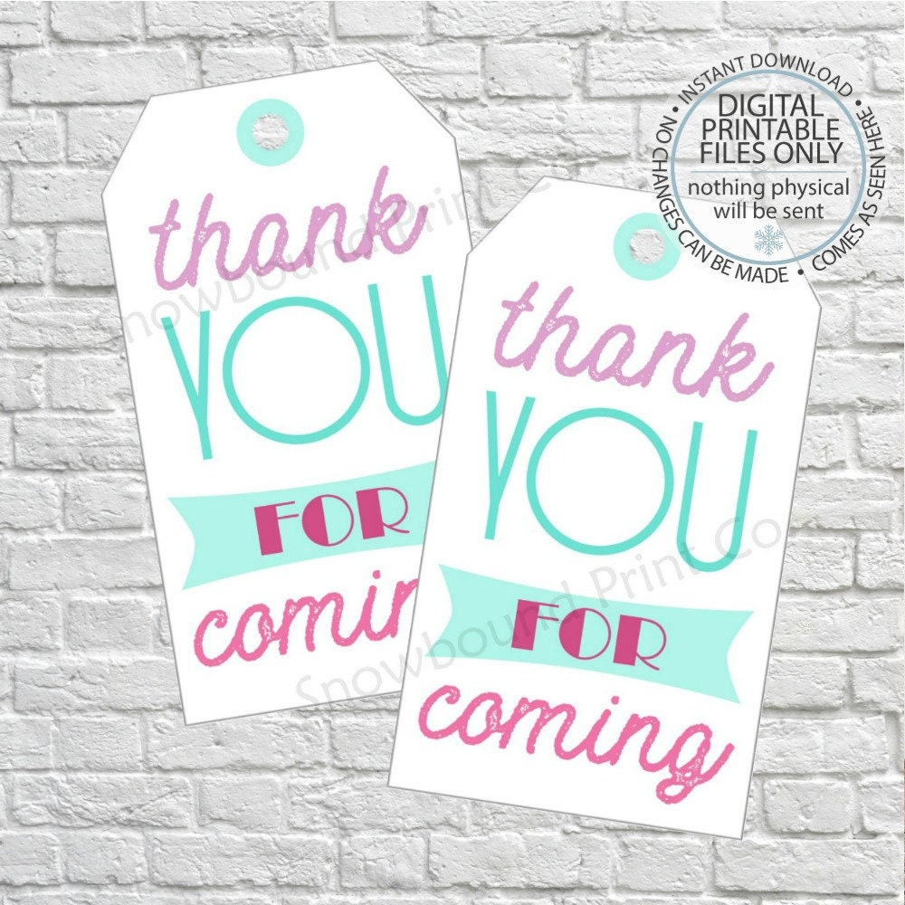 Thank You For Coming Favor Tags Birthday Gift