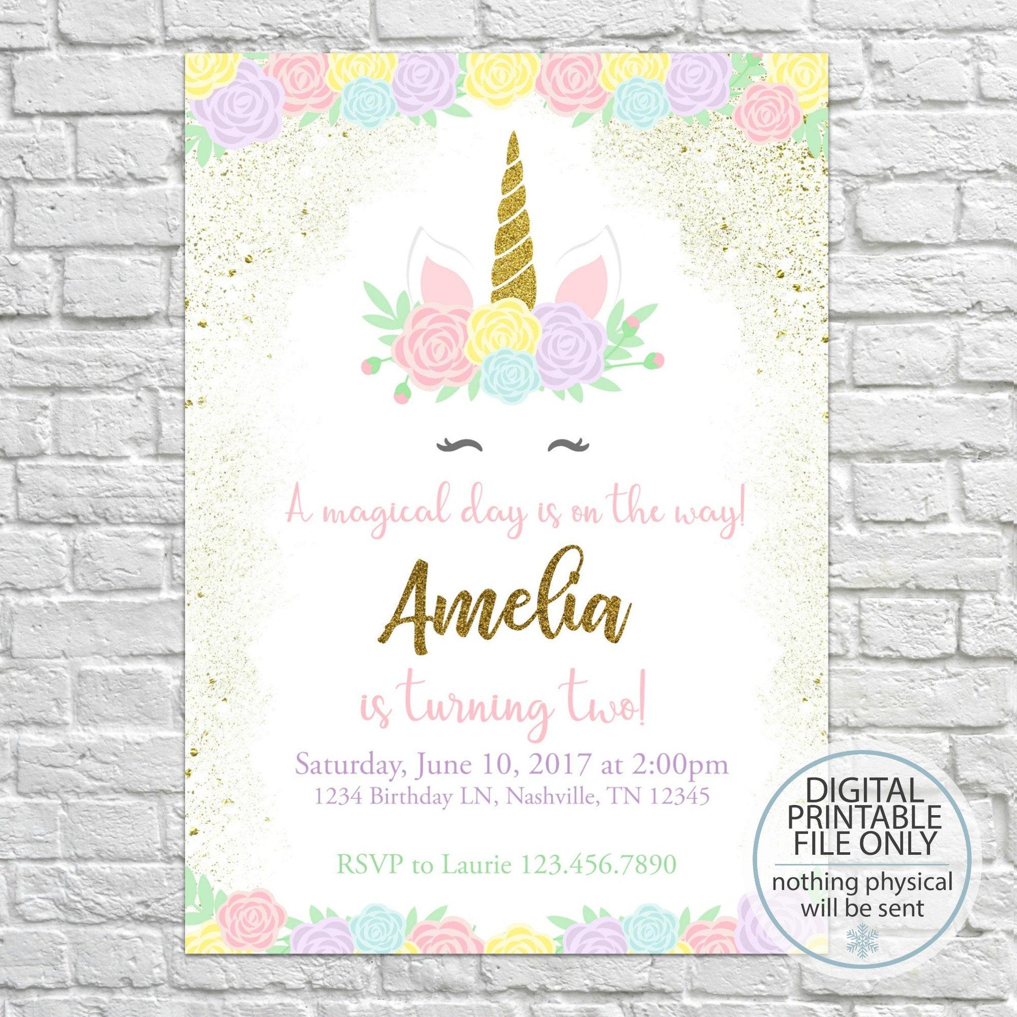 Unicorn birthday invitation magical unicorn invite printable | Etsy